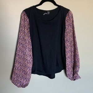 Anthropologie floral puff sleeve long sleeve top S